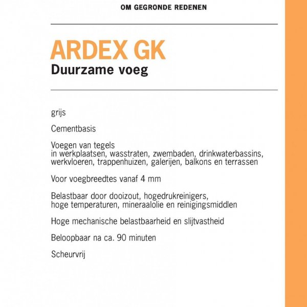 ARDEX GK voegmateriaal productinformatie