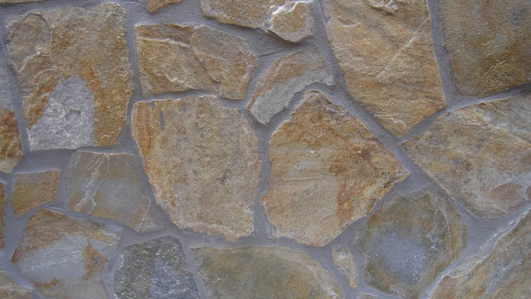 Yellow Plakes Flagstones 1-3 cm, gevoegd met Ardex GK.