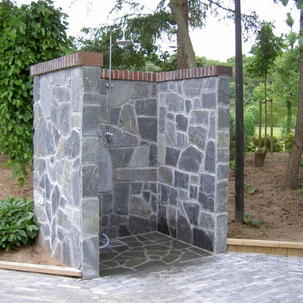 Flagstones Buitendouche. Sauna Swoll.