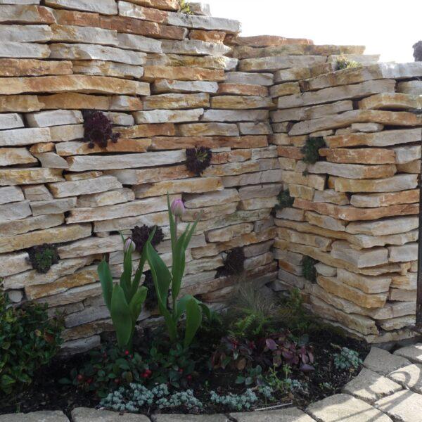 Flagstone muur gestapeld Natuursteen.