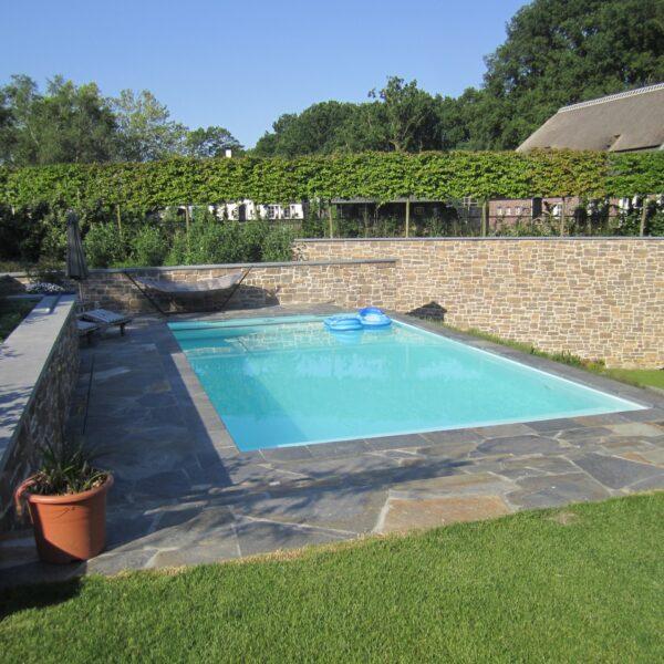 Flagstones groot rondom het zwembad.