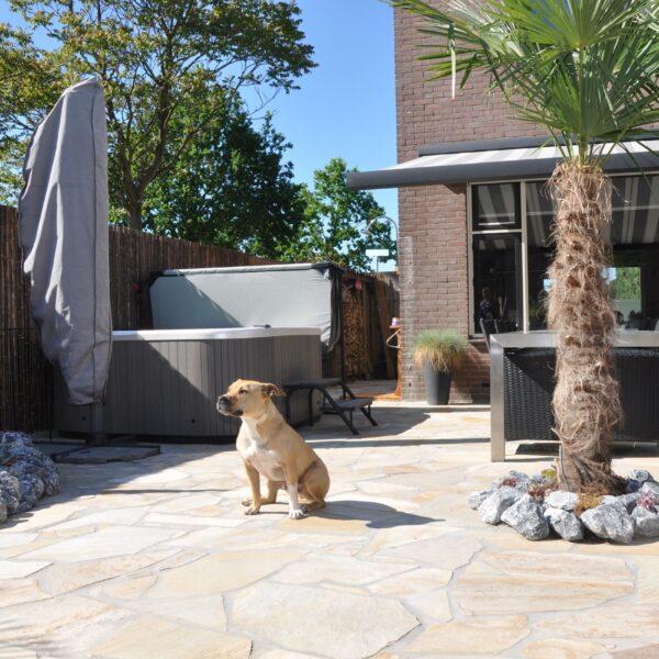 Flagstones in de achtertuin.