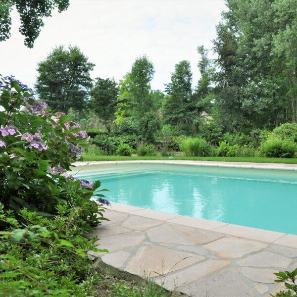 Flagstones rondom het zwembad.