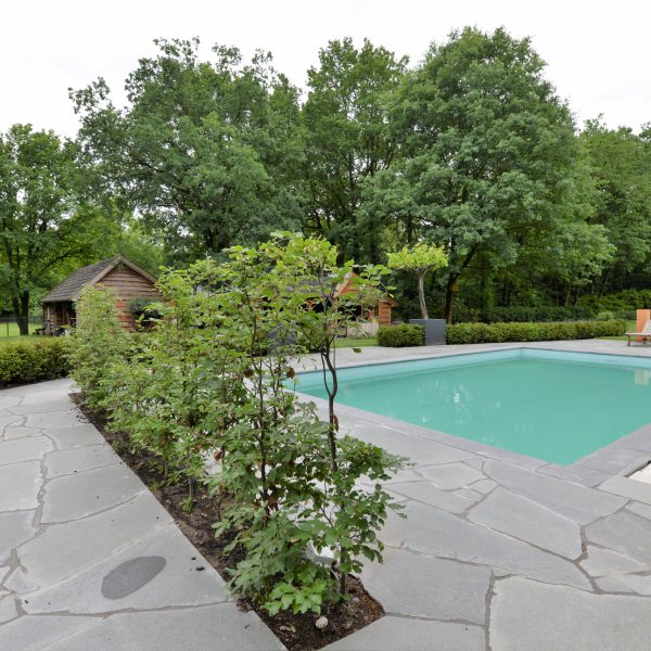 Gebroken Natuurstenen rondom het zwembad.