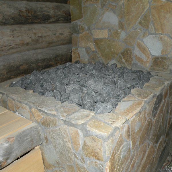 Yellow Plakes flagstones - toegepast in de sauna. Project van Saunacity.