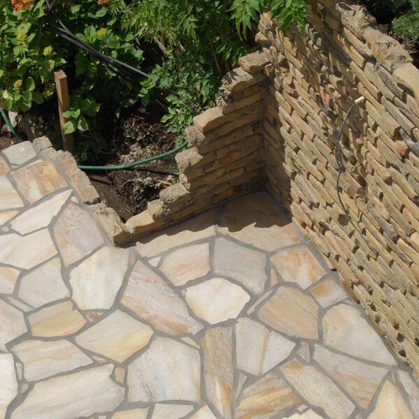 Brasil Yellow Kwartsiet Flagstones dunformaat,