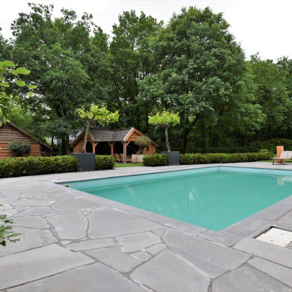 Flagstone terras bij het zwembad, Natuurstenen Alta Kwartsiet